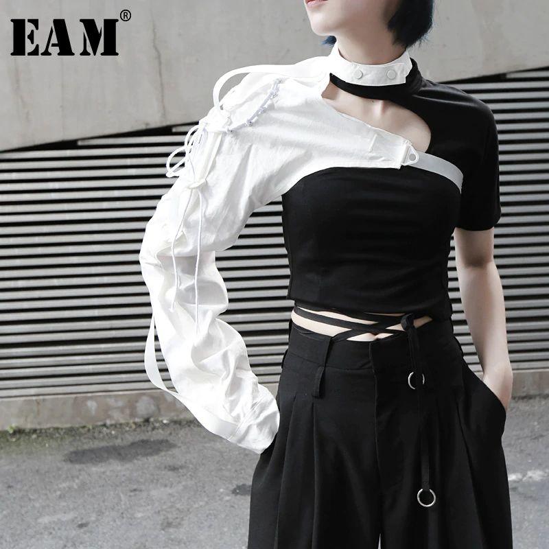 長袖 ワンショルダー アシンメトリー 2色 シャツ アクセサリー 女性 ブラウス 韓国 ファッション小物 その他トップス