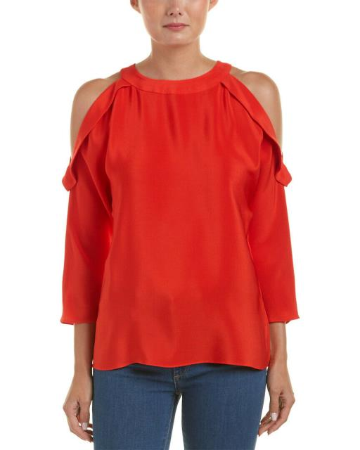 Red ファッション トップス Ramy Brook Vivica Silk Top Xxs Red