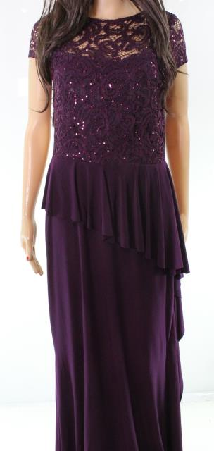 Marina マリーナ ファッション ドレス Marina NEW Purple Lace Sequin Ruffled Cap-Sleeve Womens 6 Gown Dress