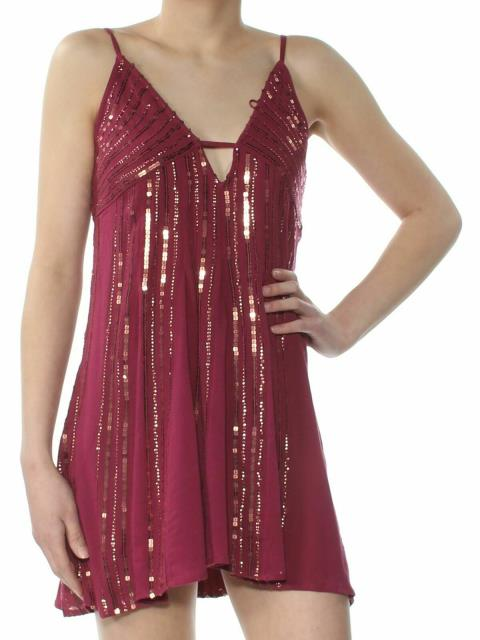 Free People フリーピープル ファッション ドレス Free People Womens Purple Size Small S Sequined V-Neck Shift Dress