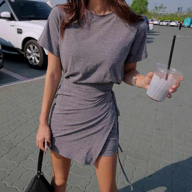 送料無料 ワンピース ミニ Tシャツ ラップスカート風 おしゃれ ヘルシー ナチュラル 美人スタイル