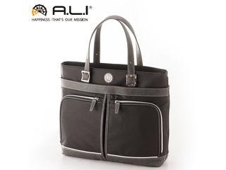 A.L.I/アジア・ラゲージ TC-3451 Tom Chris メンズ 合皮 フロントダブルポケット ビジネストートバッグ (ブラック・グレー)