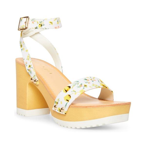マッデンガール レディース サンダル シューズ Caprise Wooden Platform Sandals Yellow Floral Multi