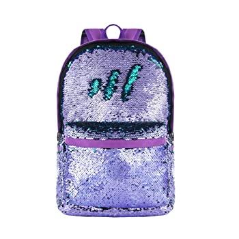 HeySun Reversible Sequin Backpack for School Bookbag for Girls Lightweight Back Pack for Boys (Purple/Teal)