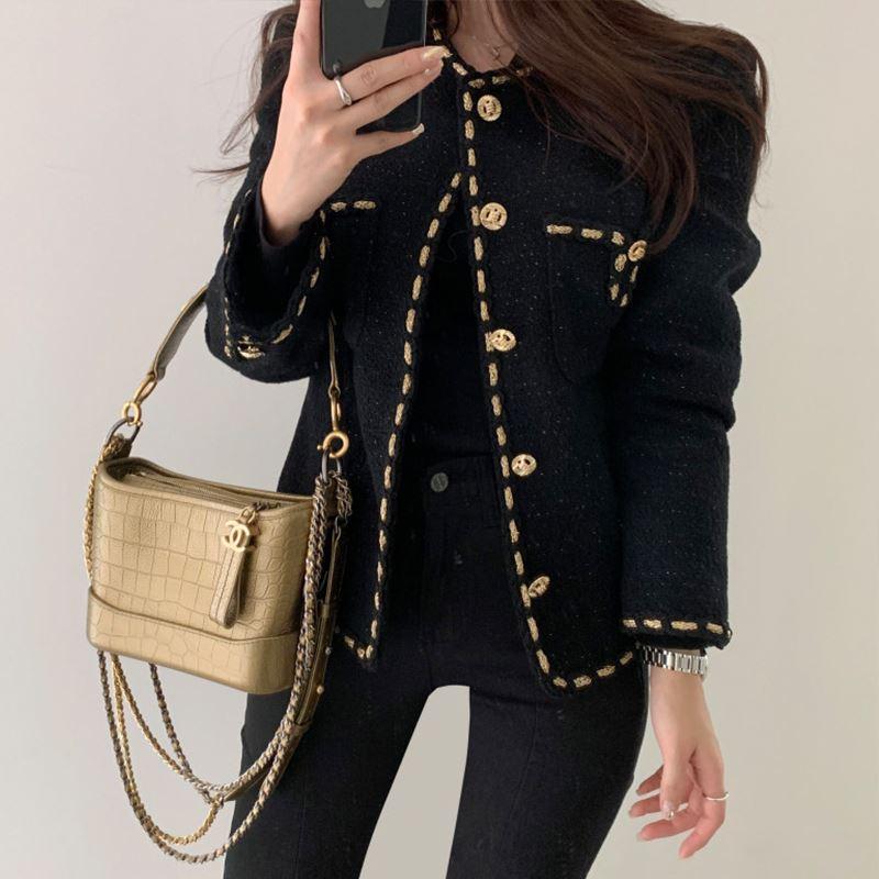 韓国ファッション★ツイードジャケット/オフィスコーデ2色 レディース ラメ ゴールドボタン きれいめ 入学式 卒業式